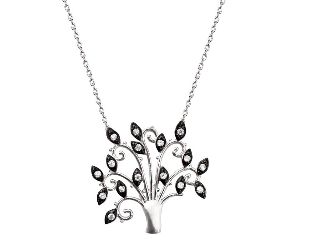 925 Ayar Gümüş Siyah Zirkon Taşlı Hayat Ağacı Kolye (model-3)