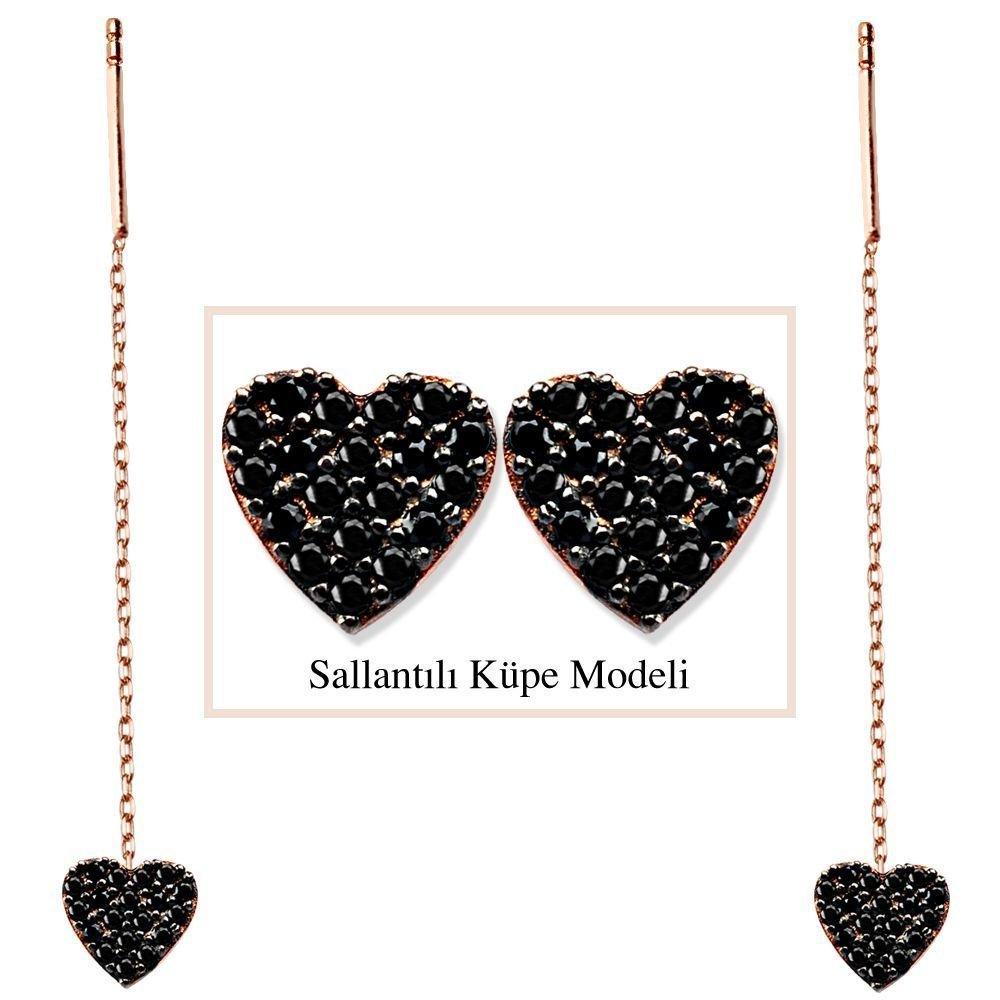 925 Ayar Gümüş Siyah Zirkon Taşlı Kalp Model Japon Sallantılı Küpe