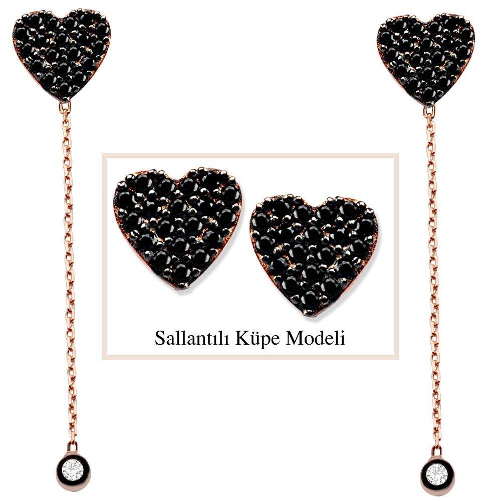 925 Ayar Gümüş Siyah Zirkon Taşlı Kalp Model Japon Sallantılı Küpe (SRD00205)