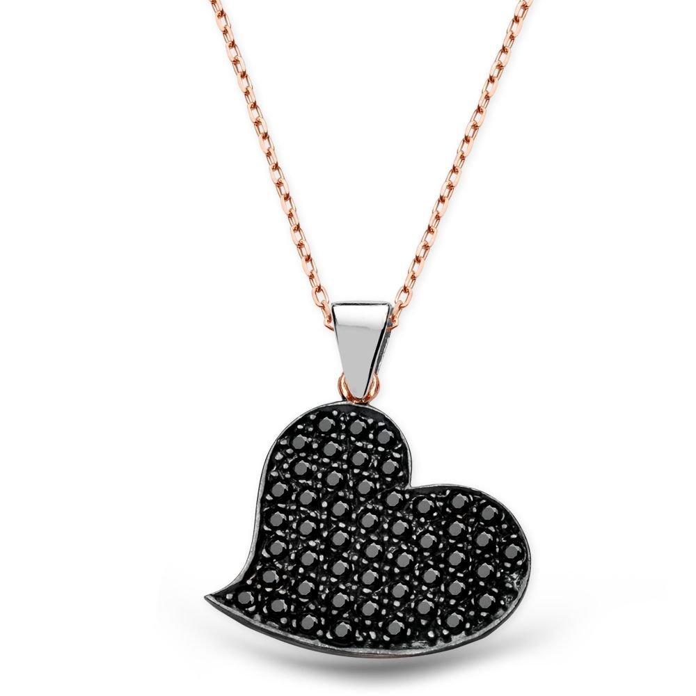 925 Ayar Gümüş Siyah Zirkon Taşlı Kalp Tasarım Kolye