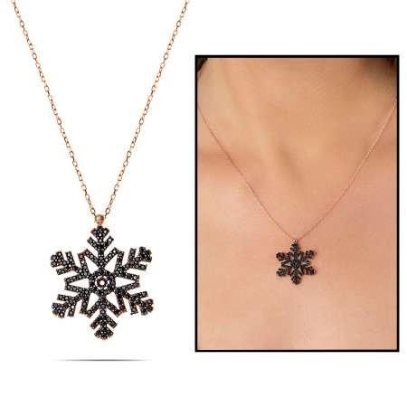 Siyah Zirkon Taşlı Kar Tasarım 925 Ayar Gümüş Bayan Kolye - Thumbnail