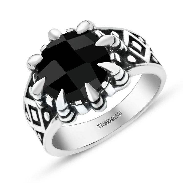 925 Ayar Gümüş Siyah Zirkon Taşlı Kartal Pençeli Yüzük