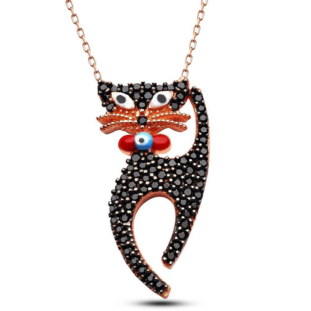 925 Ayar Gümüş Siyah Zirkon Taşlı Kedi Tasarım Kolye
