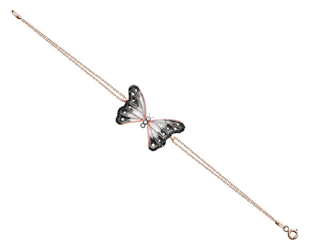 925 Ayar Gümüş Siyah Zirkon Taşlı Kelebek Bileklik