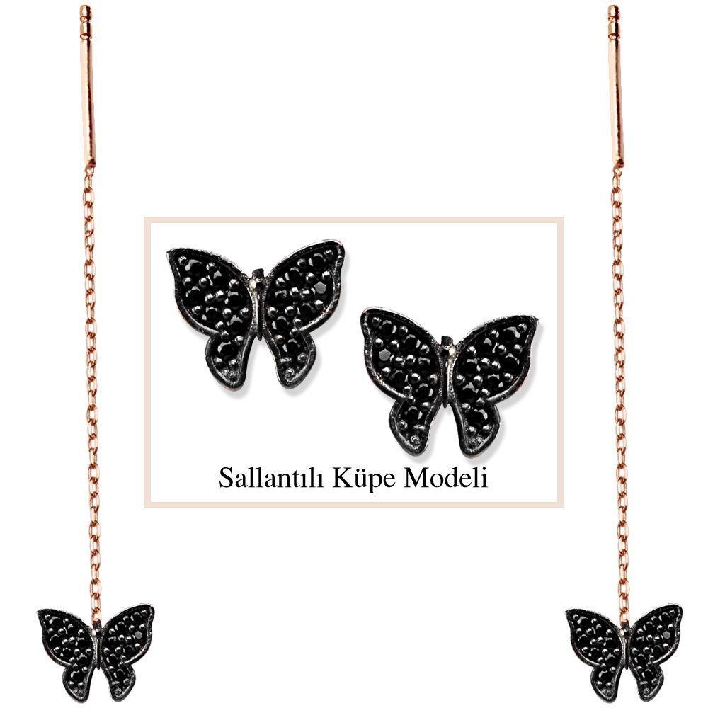 925 Ayar Gümüş Siyah Zirkon Taşlı Kelebek Model Japon Sallantılı Küpe (SRD00181)