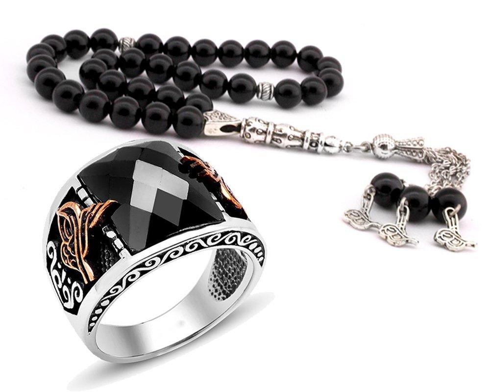 Tuğra Motifli Zirkon Taşlı 925 Ayar Gümüş Yüzük ve Oniks Tesbih Kombini