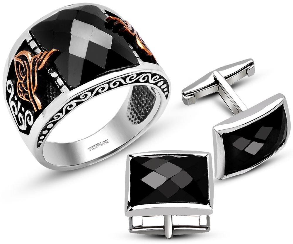 925 Ayar Gümüş Siyah Zirkon Taşlı Tuğralı Yüzük Kol Düğmesi Kombini