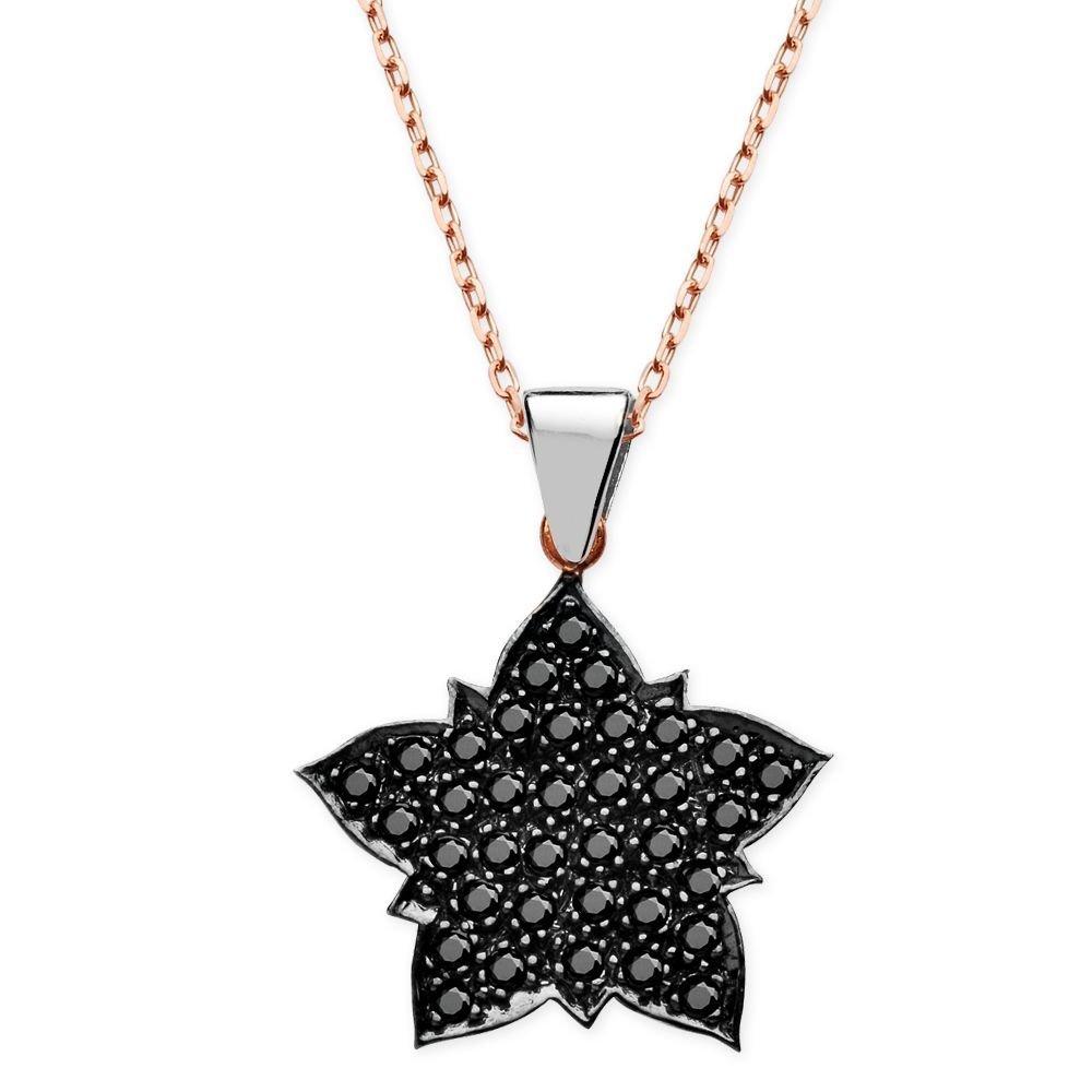 925 Ayar Gümüş Siyah Zirkon Taşlı Yıldız Kolye