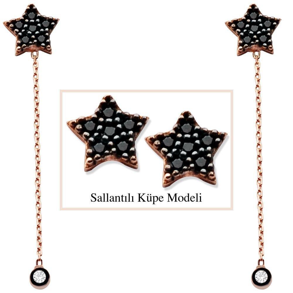 925 Ayar Gümüş Siyah Zirkon Taşlı Yıldız Model Japon Sallantılı Küpe (SRD00203)