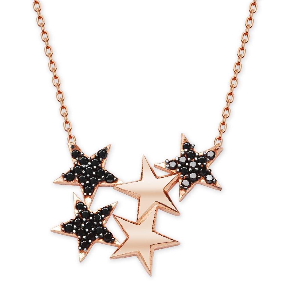 925 Ayar Gümüş Siyah Zirkon Taşlı Yıldızlar Kolye
