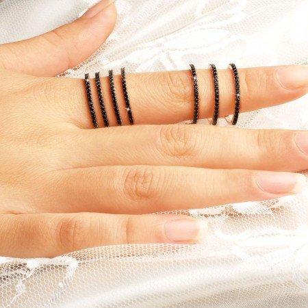 925 Ayar Gümüş Siyah Zirkon Taşlı Zincirli Çift Halka Yüzük - Thumbnail