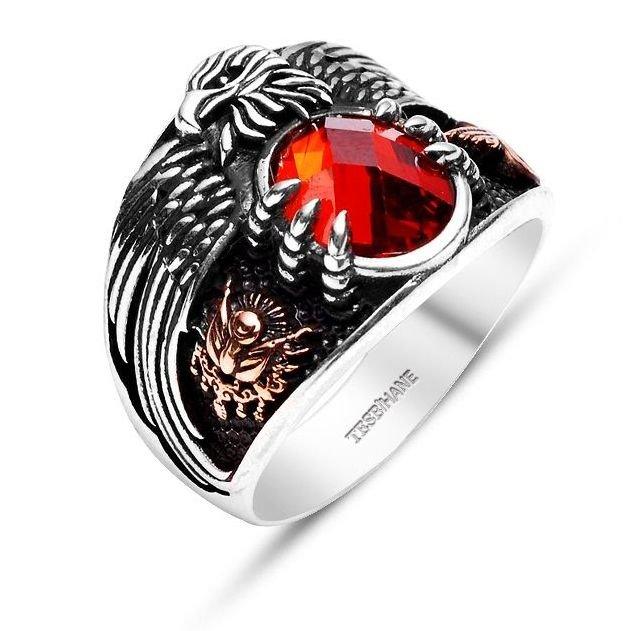 925 Ayar Gümüş Son İmparator Yüzüğü (Kırmızı Taşlı)