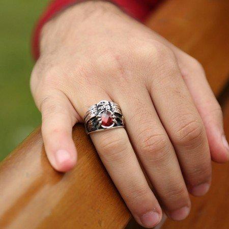 Kırmızı Zirkon Taşlı 925 Ayar Gümüş Son İmparator Yüzüğü - Thumbnail