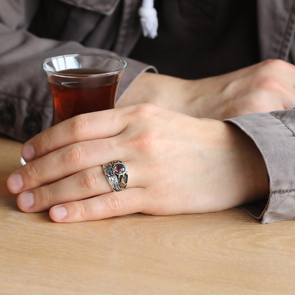 Kırmızı Zirkon Taşlı 925 Ayar Gümüş Son İmparator Yüzüğü