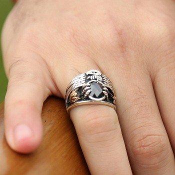 Siyah Zirkon Taşlı 925 Ayar Gümüş Son İmparator Yüzüğü - Thumbnail