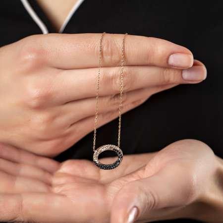 Siyaz-Beyaz Zirkon Taşlı Sonsuzluk Döngü 925 Ayar Gümüş Bayan Kolye - Thumbnail