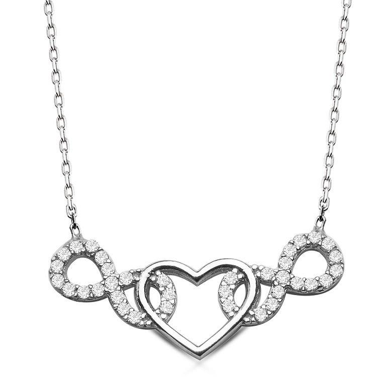 925 Ayar Gümüş Sonsuzluk Kalp Model Kolye