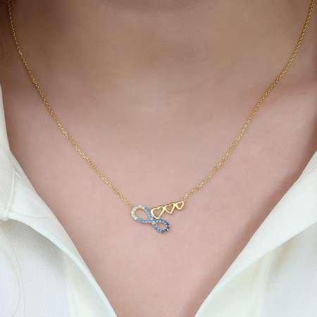 Zirkon Taşlı Üç Kalp Sonsuzluk Tasarım 925 Ayar Gümüş Bayan Kolye - Thumbnail