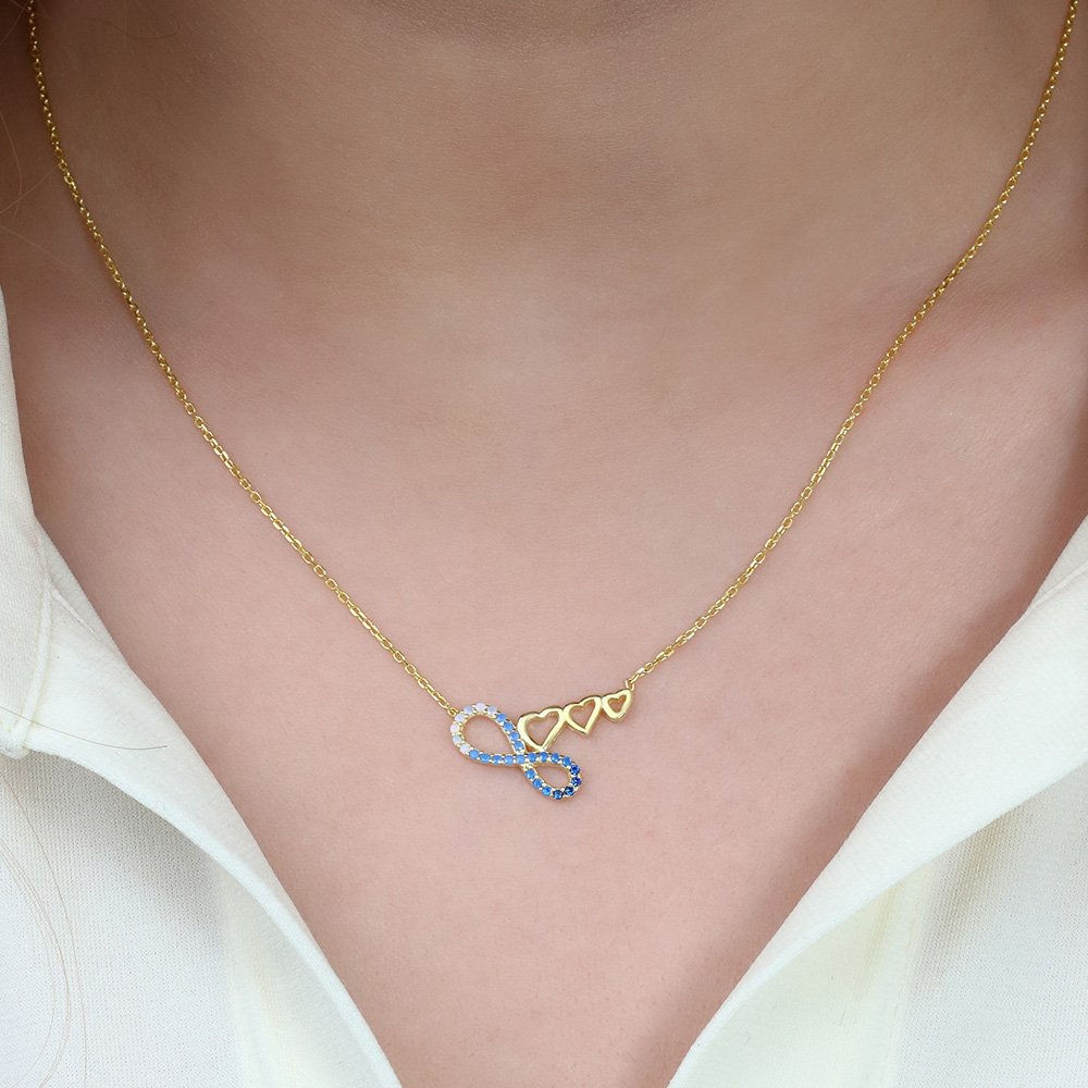 Zirkon Taşlı Üç Kalp Sonsuzluk Tasarım 925 Ayar Gümüş Bayan Kolye
