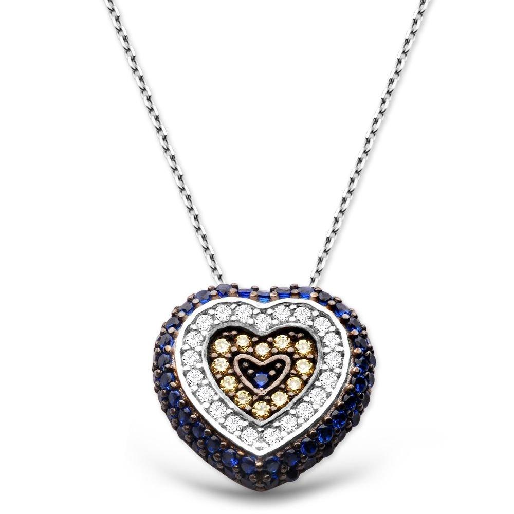 925 Ayar Gümüş Sosyete Gözü Kolye Kalp Model