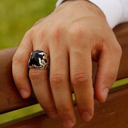 Lacivert Zirkon Taşlı 925 Ayar Gümüş Şövalye Yüzüğü - Thumbnail