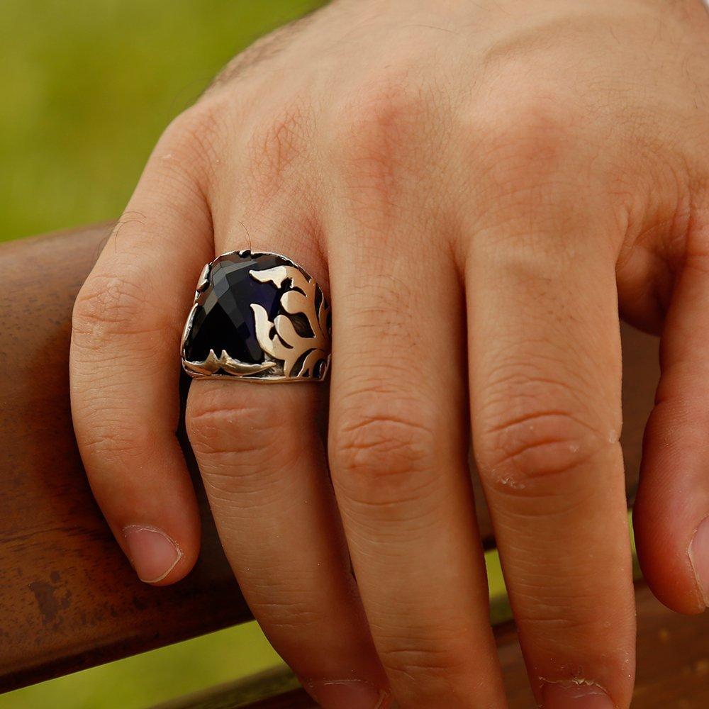 Lacivert Zirkon Taşlı 925 Ayar Gümüş Şövalye Yüzüğü