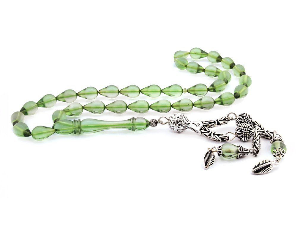 925 Ayar Gümüş Su Yeşili Damla Kesim Sıkma Kehribar Tesbih