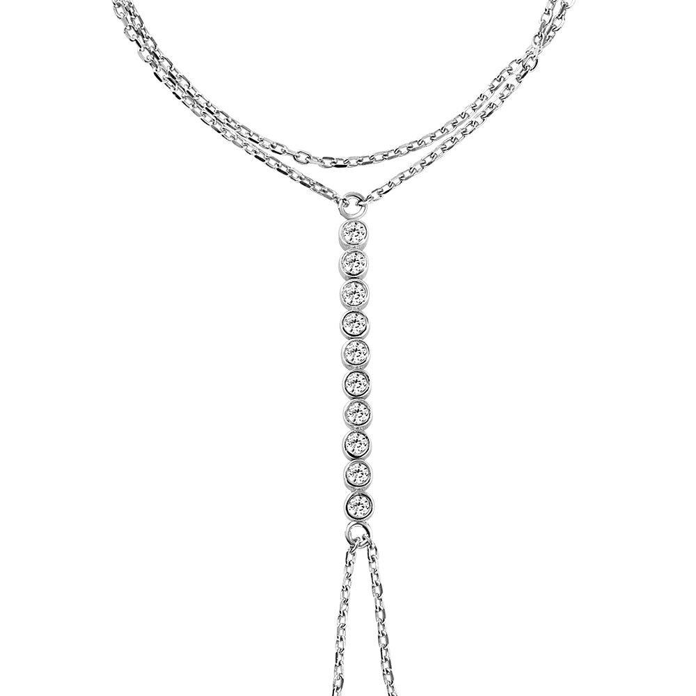 Su Yolu Tasarım Zirkon Taşlı 925 Ayar Gümüş Şahmeran Bileklik