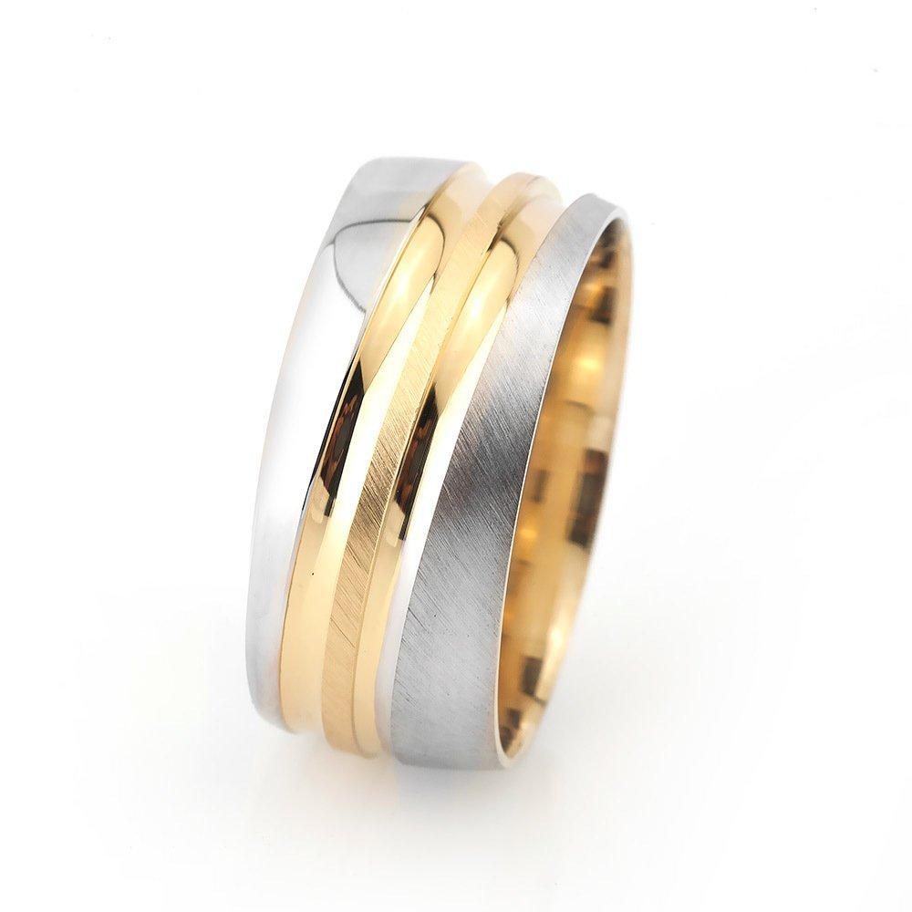 Çiftli Su Yolu Tasarım Gri-Gold Renk 925 Ayar Gümüş Erkek Alyans