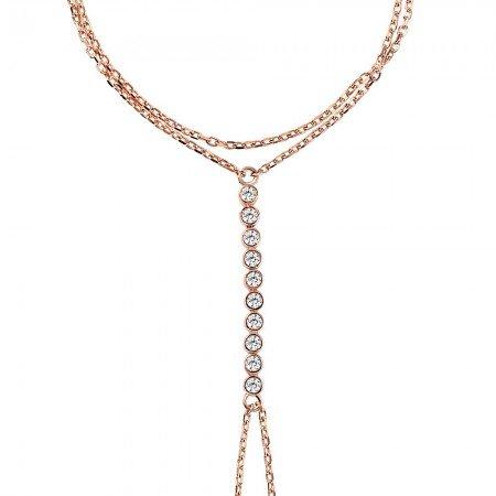 Su Yolu Tasarım Zirkon Taşlı 925 Ayar Gümüş Rose Renk Şahmeran Bileklik - Thumbnail