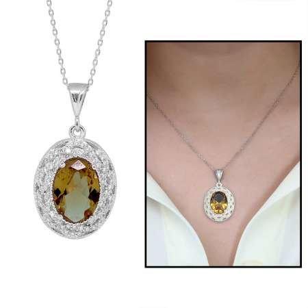 925 Ayar Gümüş Sultanit Taşlı Bayan Kolye (Model-7) - Thumbnail