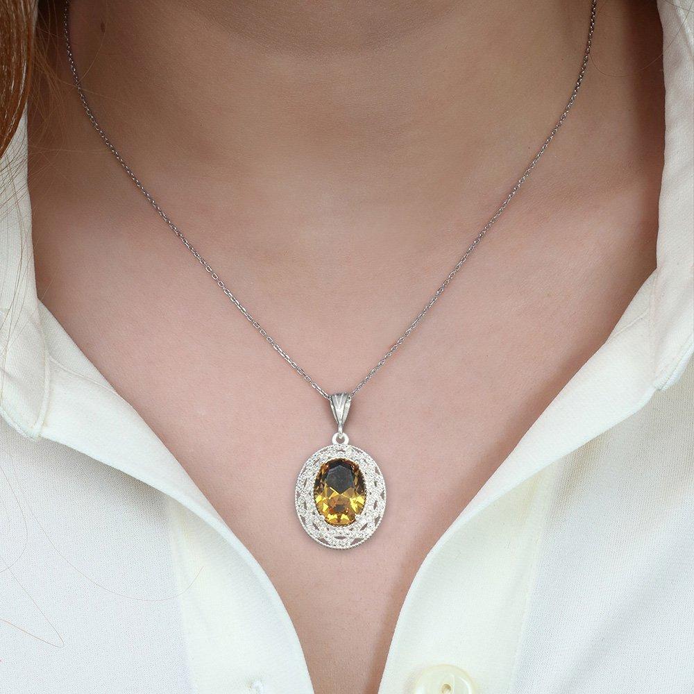 925 Ayar Gümüş Sultanit Taşlı Bayan Kolye (Model-7)