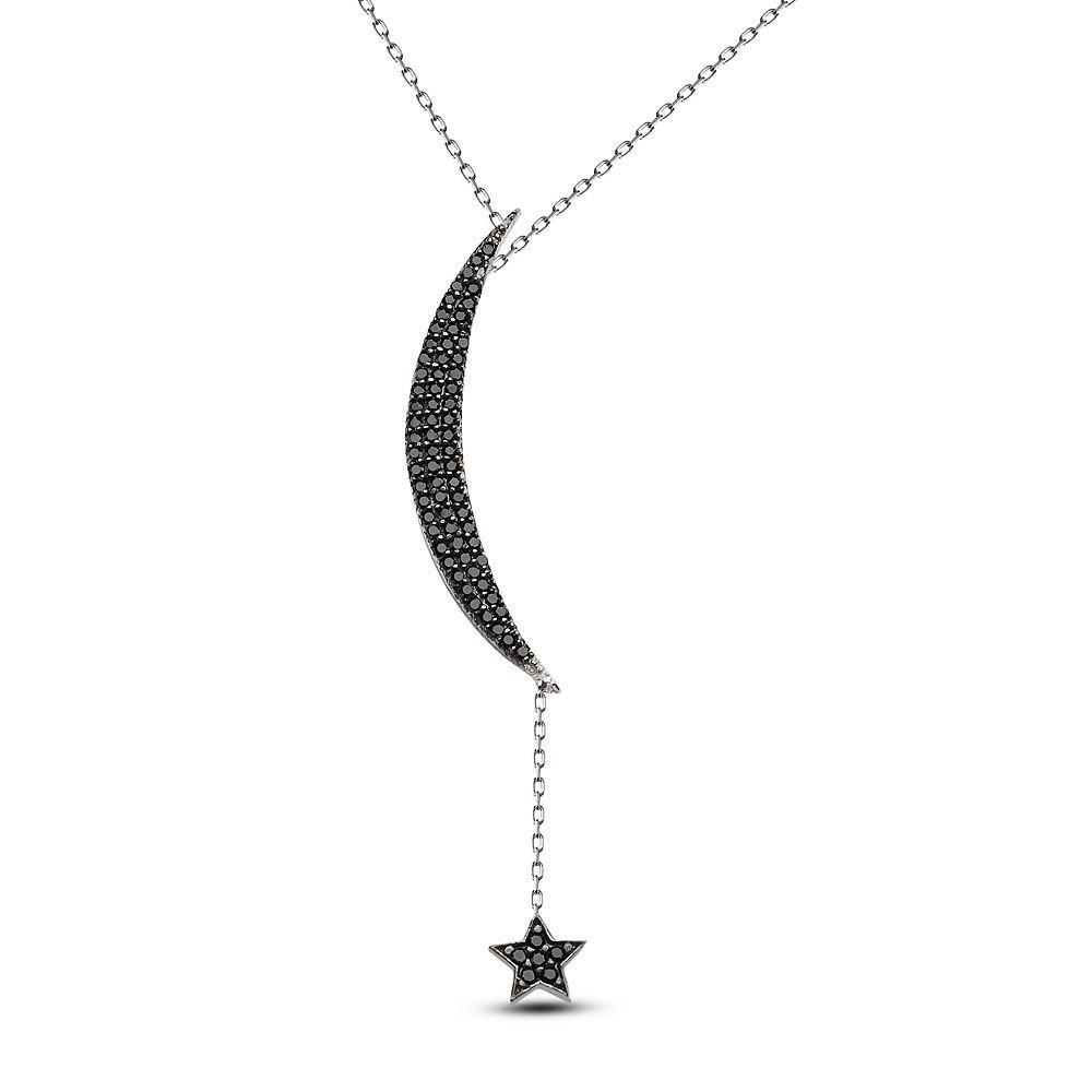 925 Ayar Gümüş Tamamı Siyah Zirkon Taşlı Ay ve Yıldız Kolye