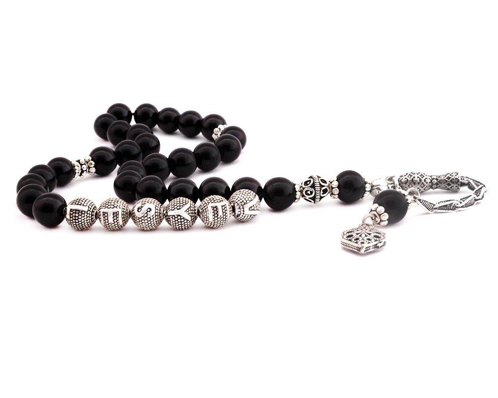 925 Ayar Gümüş Püsküllü Küre Kesim İsim Yazılı Siyah Oniks Tesbih