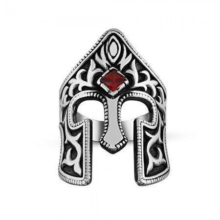 Kırmızı Zirkon Taşlı 925 Ayar Gümüş Miğfer Yüzük - Thumbnail