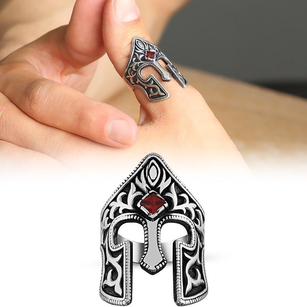 Kırmızı Zirkon Taşlı 925 Ayar Gümüş Miğfer Yüzük