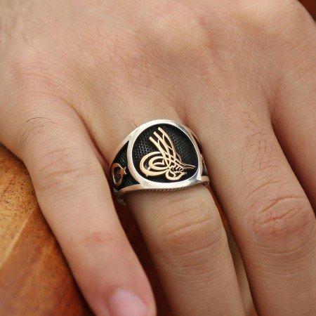 925 Ayar Gümüş Taşsız Ay Yıldız Tuğra Yüzük - Thumbnail