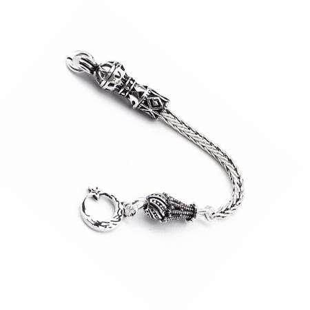 Ayyıldız Motifli 925 Ayar Gümüş Püskül - Thumbnail