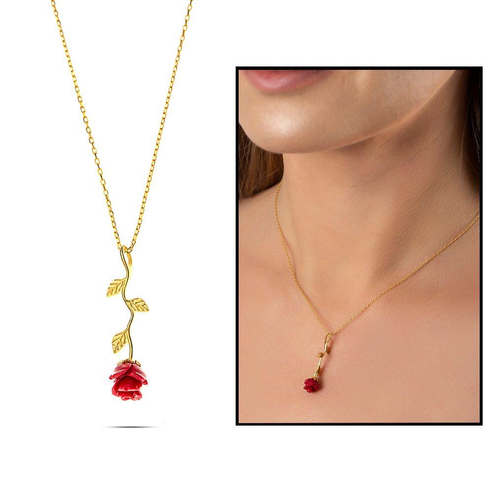 Sedef Taşlı Kırmızı Gül Tasarım 925 Ayar Gümüş Bayan Kolye