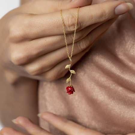 Sedef Taşlı Kırmızı Gül Tasarım 925 Ayar Gümüş Bayan Kolye - Thumbnail