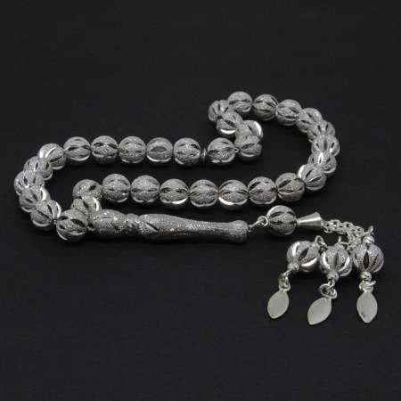 Üç Püsküllü Lazer İşlemeli Küre Kesim İthal 925 Ayar Gümüş Tesbih - Thumbnail