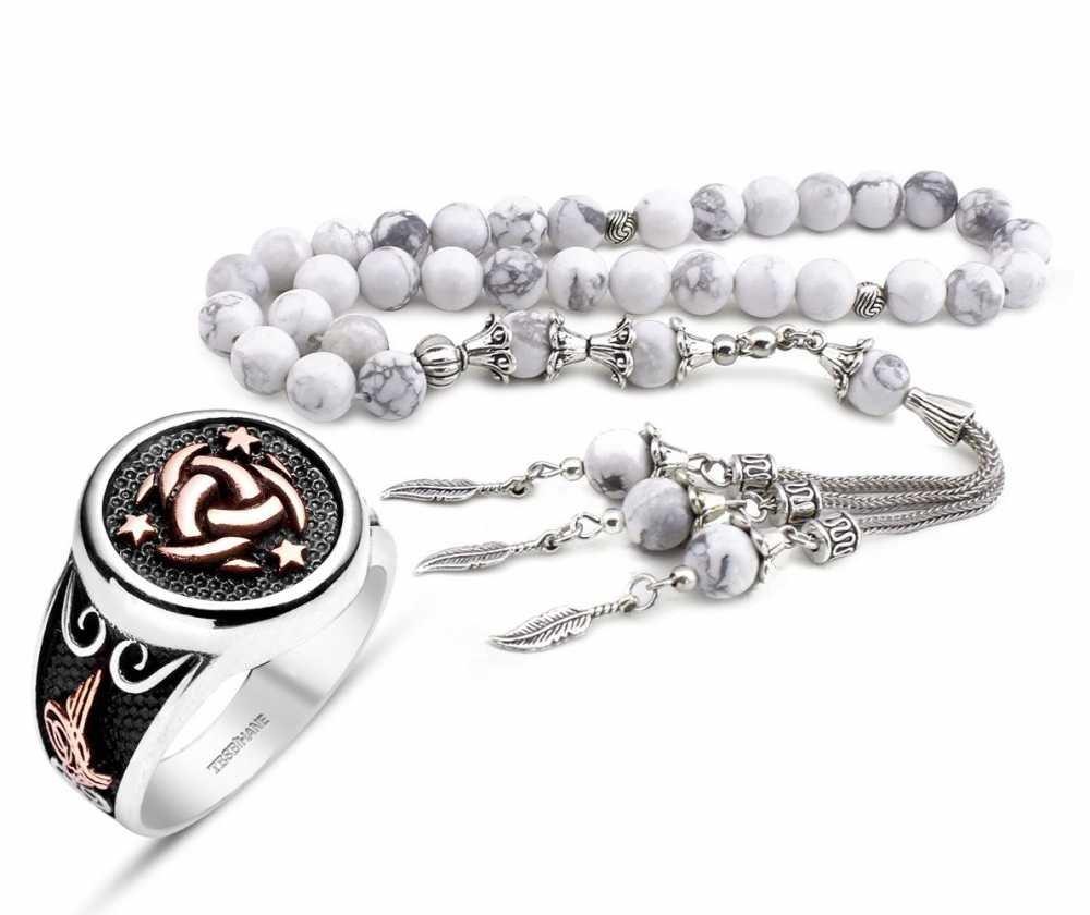 925 Ayar Gümüş Teşkilat-ı Mahsusa Yüzüğü ve Havlit Doğaltaş Tesbih Kombini
