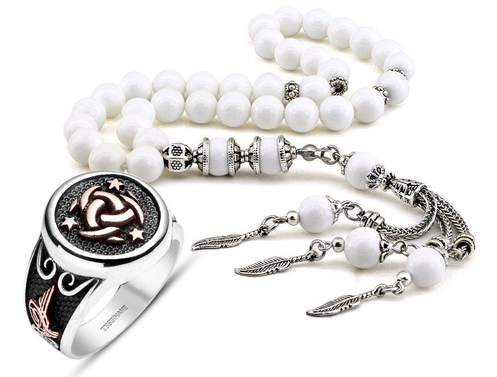 925 Ayar Gümüş Teşkilat-ı Mahsusa Yüzüğü ve Özel Kamçılı Sedef Tesbih Kombini