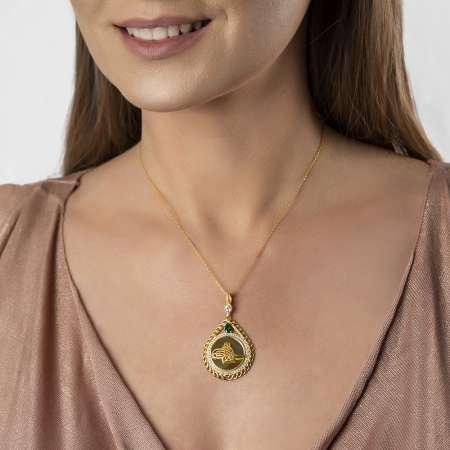 Zirkon Taşlı Gold Renk Tuğralı Damla Tasarım 925 Ayar Gümüş Bayan Kolye - Thumbnail