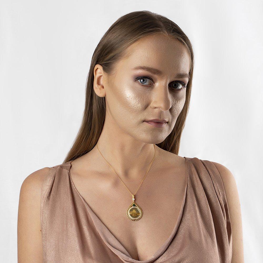 Zirkon Taşlı Gold Renk Tuğralı Damla Tasarım 925 Ayar Gümüş Bayan Kolye