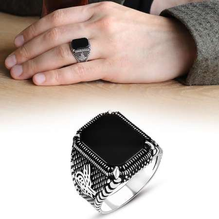 Nokta İşlemeli Tuğra Motifli Siyah Oniks Taşlı 925 Ayar Gümüş Erkek Yüzük - Thumbnail