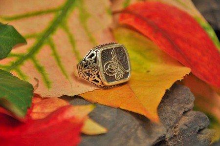 925 Ayar Gümüş Tuğra Desenli Yüzük - Thumbnail