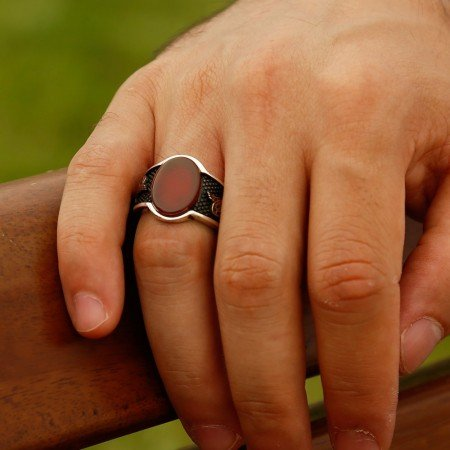 925 Ayar Gümüş Tuğra Detaylı Akik Taşlı Yüzük (model 2) - Thumbnail
