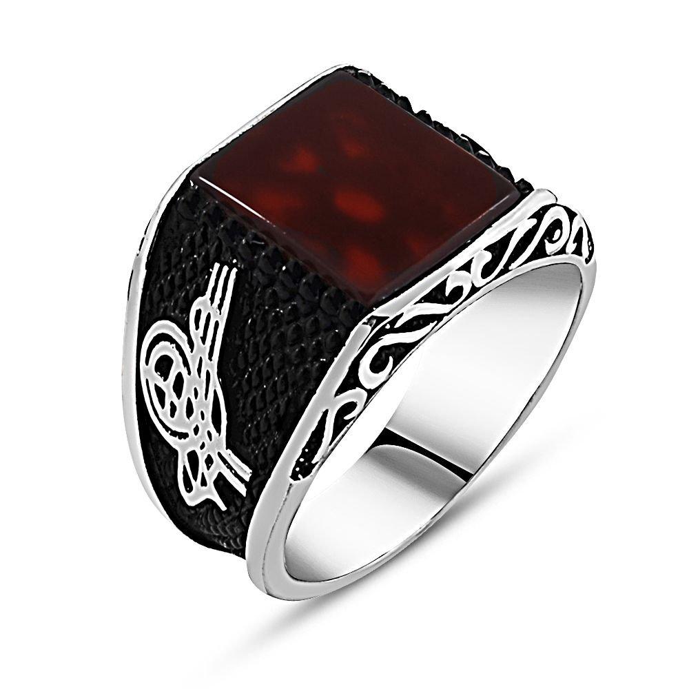 925 Ayar Gümüş Tuğra Detaylı Kırmızı Akik Taşlı Yüzük (model 2)