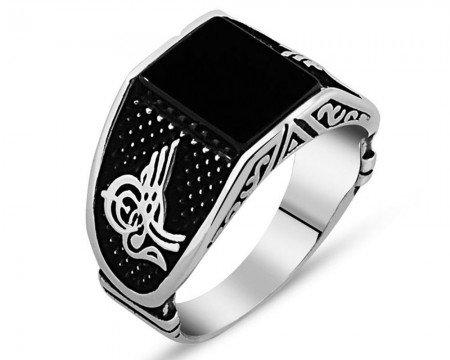 Tuğra İşlemeli Siyah Kare Oniks Taşlı 925 Ayar Gümüş Erkek Yüzük - Thumbnail